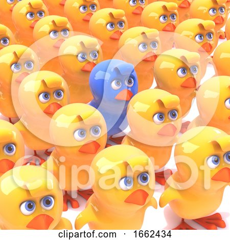 3d Blue Chick Amongst Yellow Chicks Posters, Art Prints