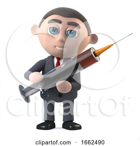 3d Businessman Holding a Syringe by Steve Young