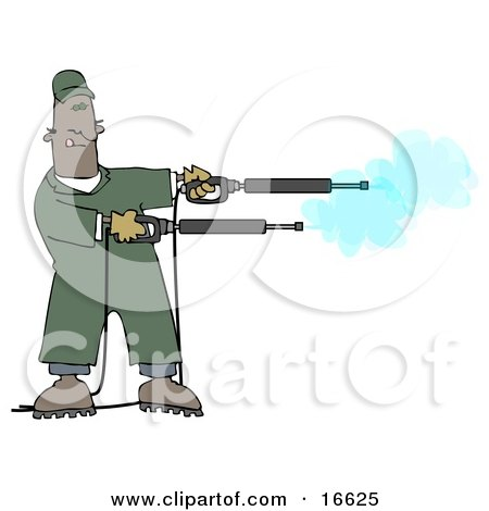 Mischievious Adult African American Man In Green Coveralls, Playing With Two Power Washer, Or Pressure Washer, Nozzles And Spraying Them Like Guns Clipart Image Graphic by djart