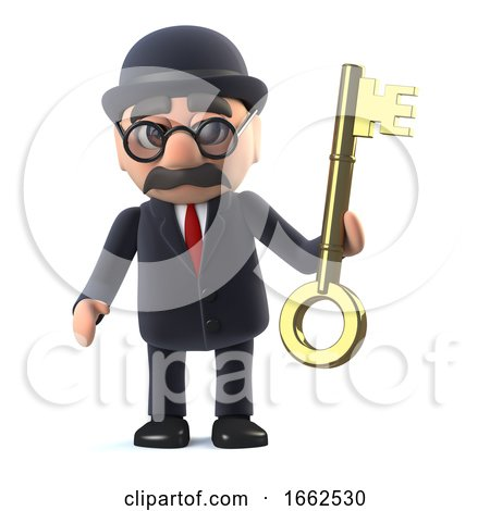 3d Bowler Hatted British Businessman Has a Gold Key by Steve Young