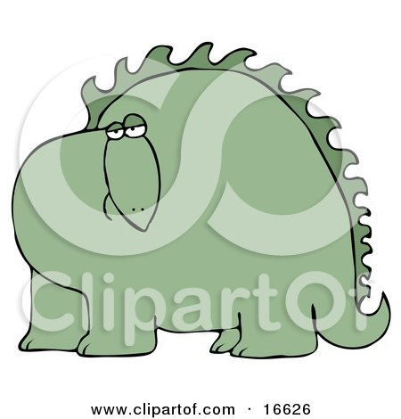 Big Green Dinosaur With Spikes Along His Back, Looking At The Viewer With A Bored Or Sad Expression Clipart Image Graphic by djart