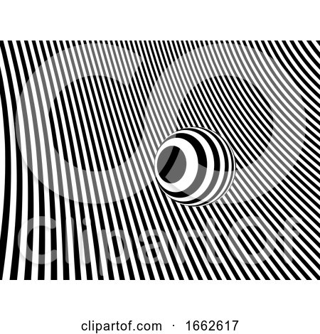 3d Sphere on Striped Monochrome Background by Steve Young
