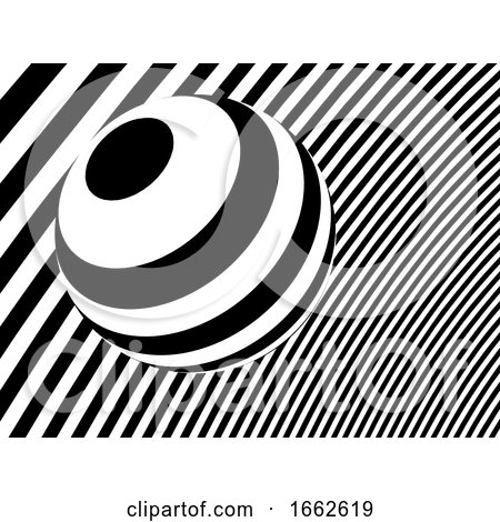 3d Monochrome Stripes with Sphere by Steve Young