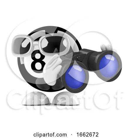 3d Eight Ball Looks Through Binoculars by Steve Young