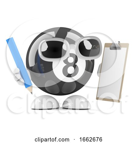 3d Eight Ball with Clipboard and Pencil by Steve Young