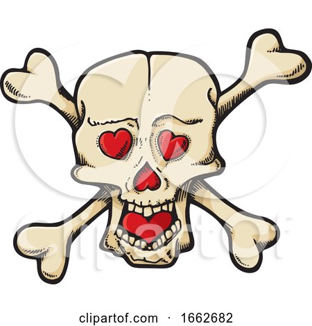 Skull and Crossbones with Hearts by Any Vector