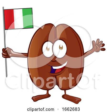 Cartoon Coffee Bean Mascot Holding an Italian Flag by Domenico Condello