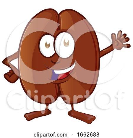 Cartoon Coffee Bean Mascot Waving by Domenico Condello