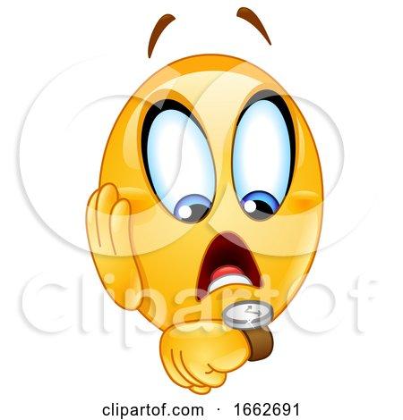 Yellow Smiley Emoji Emoticon Checking His Watch by yayayoyo