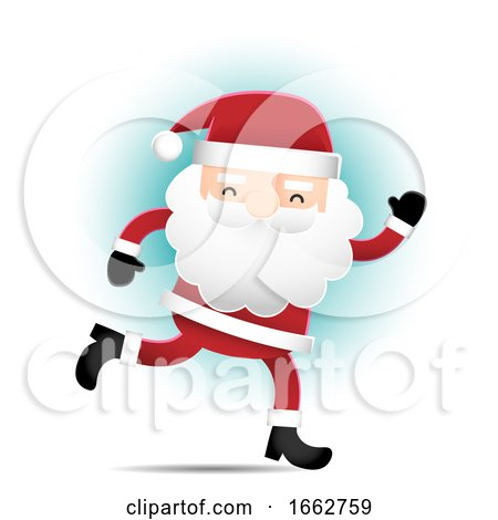 Running Santa Claus over Blue by Qiun