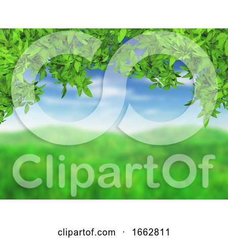 3D Grassy Landscape with Green Leaves by KJ Pargeter