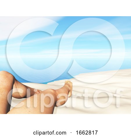 3D Landscape with Close up of Female Legs on a Sandy Beach by KJ Pargeter