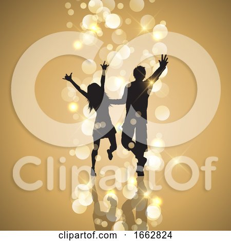 Party Couple on Gold Bokeh Lights Background by KJ Pargeter