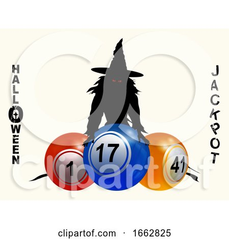 Halloween Jackpot Background with Witch and Balls by elaineitalia