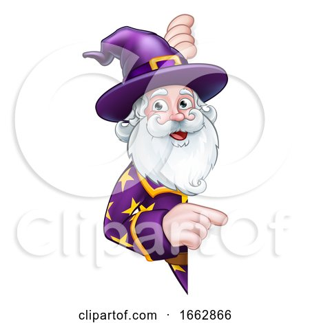 Wizard Peeking Round Sign Pointing by AtStockIllustration