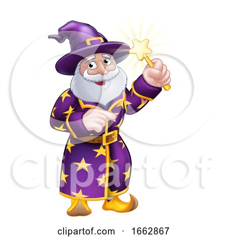 Wizard Cartoon Character Pointing by AtStockIllustration