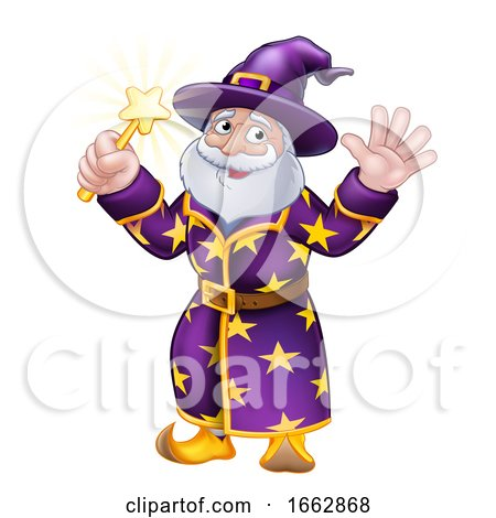 Wizard with Wand Cartoon Character by AtStockIllustration