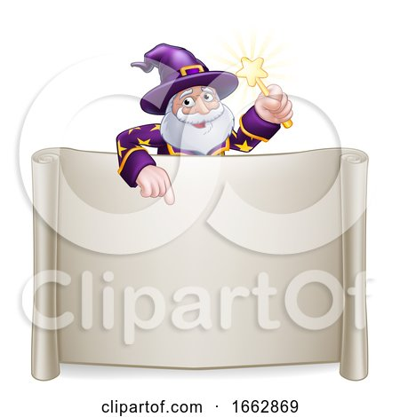 Wizard Cartoon Character Sign Scroll by AtStockIllustration