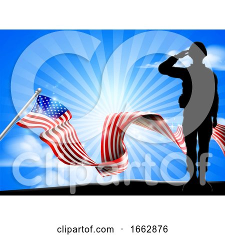 American Flag Saluting Soldier Background by AtStockIllustration