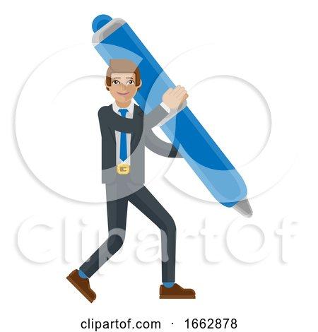 Business Man Holding Pen Mascot Concept by AtStockIllustration