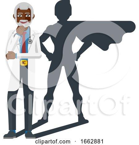 Mature Black Medical Doctor Super Hero Shadow by AtStockIllustration