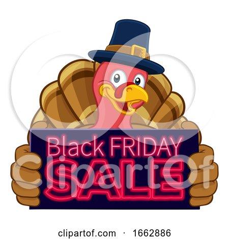 Turkey Black Friday Sale Cartoon Character by AtStockIllustration
