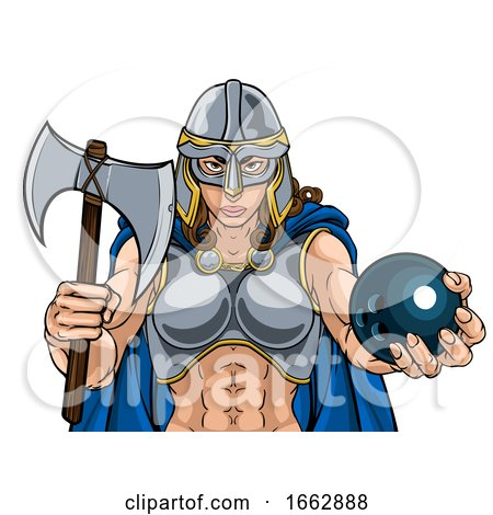 Viking Trojan Celtic Knight Bowling Warrior Woman by AtStockIllustration