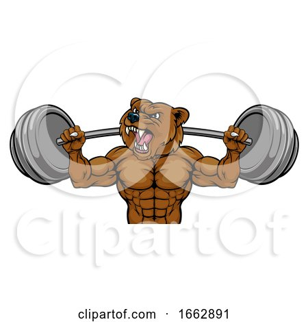 Bear Mascot Weight Lifting Barbell Body Builder by AtStockIllustration