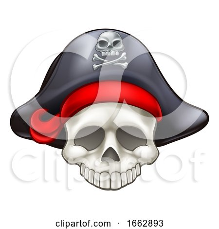 Pirate Skull Cartoon by AtStockIllustration