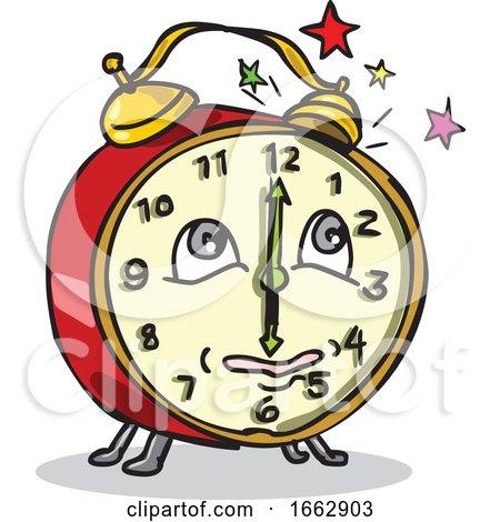 Traditional Alarm Clock Waking up Cartoon by patrimonio