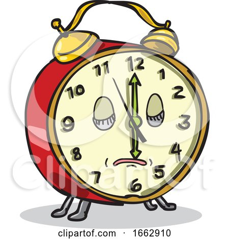 Vintage Alarm Clock Sleeping Cartoon by patrimonio