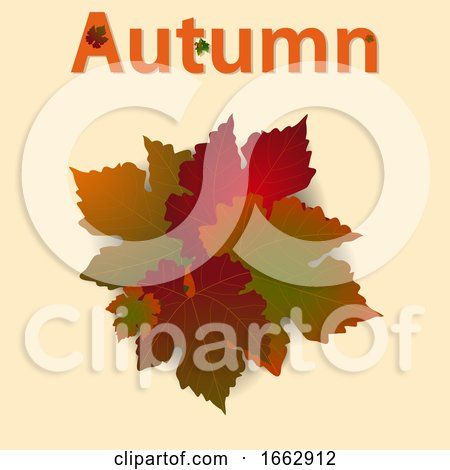 Autumn Background with Leafs and Decorated Text by elaineitalia