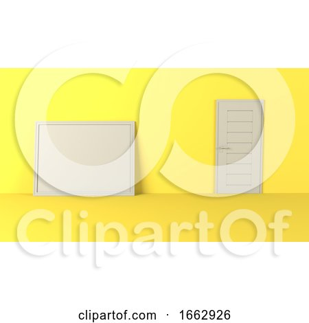 3D Blank Picture Frames on Empty Wall by KJ Pargeter