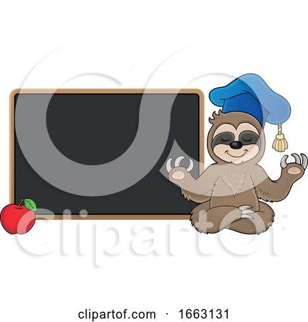 Meditating Professor Sloth by a Chalkboard by visekart