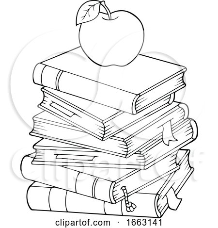 Black and White Apple on Books Posters, Art Prints