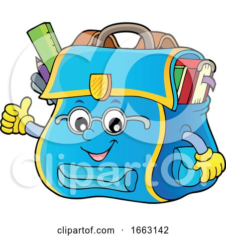 School Bag Character Giving a Thumb up by visekart