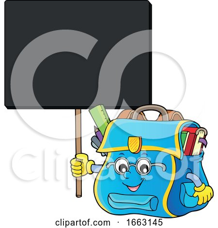 School Bag Character Holding a Sign by visekart