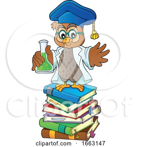 Professor Owl Holding a Science Flask on a Stack of Books by visekart