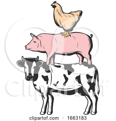 Chicken Pig and Cow by Vector Tradition SM