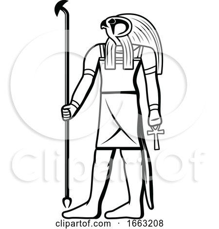 Black and White Egyptian God Horus by Vector Tradition SM