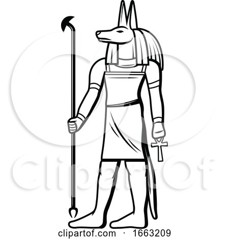 Black and White Egyptian Anubis by Vector Tradition SM
