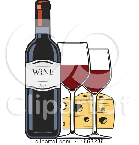 Wine Bottle Glass and Cheese by Vector Tradition SM