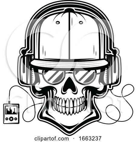 Black and White Skull Wearing Headphones Posters, Art Prints