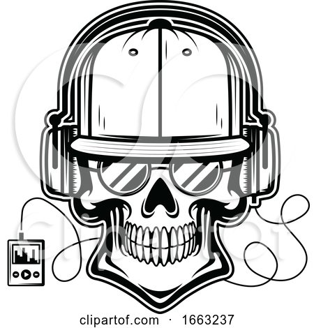 Black and White Skull Wearing Headphones by Vector Tradition SM