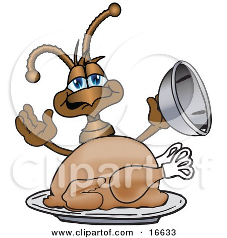 Clipart Picture of an Ant Bug Mascot Cartoon Character Serving a Thanksgiving Turkey on a Platter by Toons4Biz