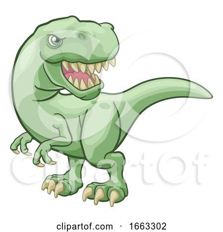 Tyrannosaurus T Rex Dinosaur Cartoon Character by AtStockIllustration