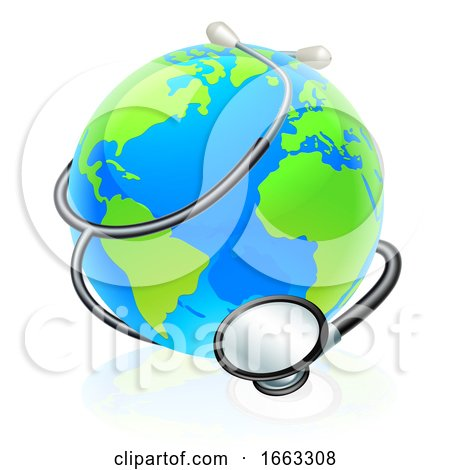 Earth World Health Day Stethoscope Globe Concept by AtStockIllustration