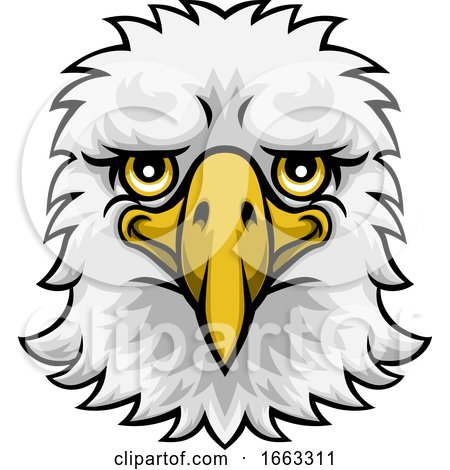 Eagle Mascot Cute Happy Cartoon Character by AtStockIllustration