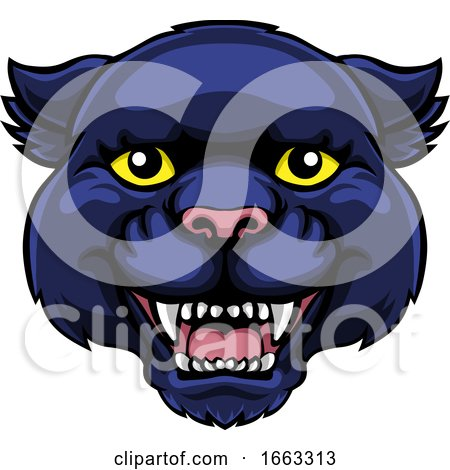 Panther Mascot Cute Happy Cartoon Character by AtStockIllustration