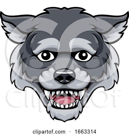 Wolf Mascot Cute Happy Cartoon Character by AtStockIllustration